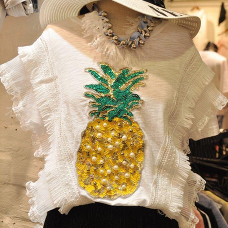 Летние платья для девочек короткий рукав повседневные футболки ананас бисера блестками корейская мода футболки новый милый черная футболка забавные женские модные топыкупить в магазине YUFENG CLOTHES StoreнаAliExpress