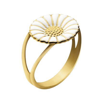 DAISY ring - forgyldt sterlingsølv med hvid emalje