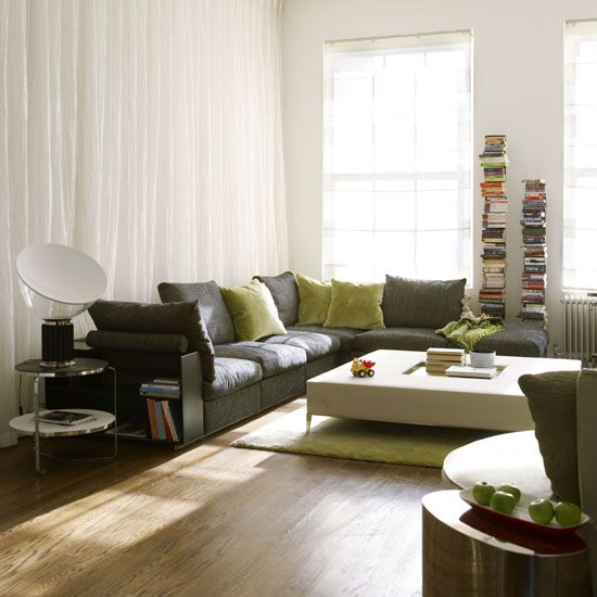 love this gray couch!!!! and the green pillows