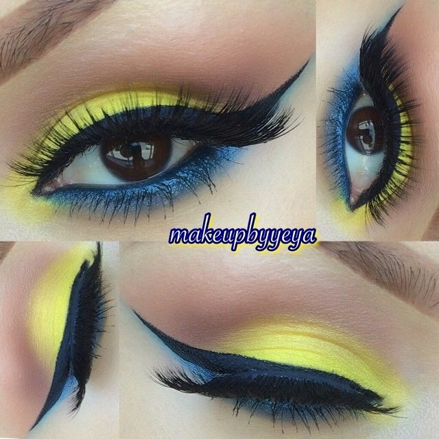 Yellow and blue eye shadow
