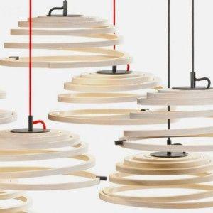 Modern Pendant Lamp with Wooden Spiral Shade – Aspiro Pendant Lamp