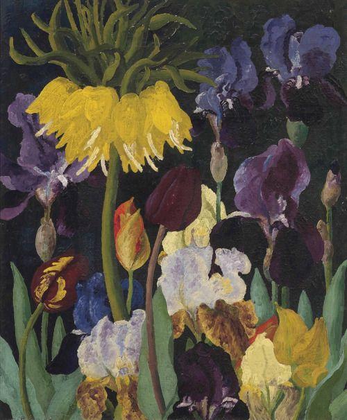 Cedric Morris (British, 1889-1982), Irises and tulips. Oil on canvas, 55.2 x 45.7 cm.