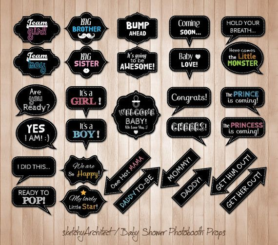 Baby Shower Photobooth Props ( Digital )- Instant Download | Chalkboard Photo booth Baby Shower  Party Speech Bubble Props Signs |Printables