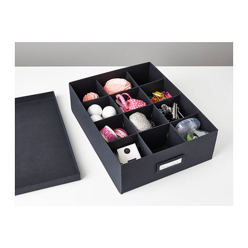 TJENA Box with compartments IKEA Helps you organize everything from small desk accessories to make-up and hair clips.