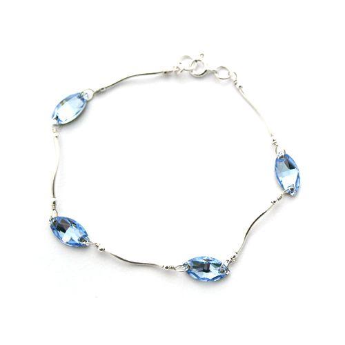 Light Sapphire Swarovski Navette crystals and silver. Subtle, sparkling elegance.