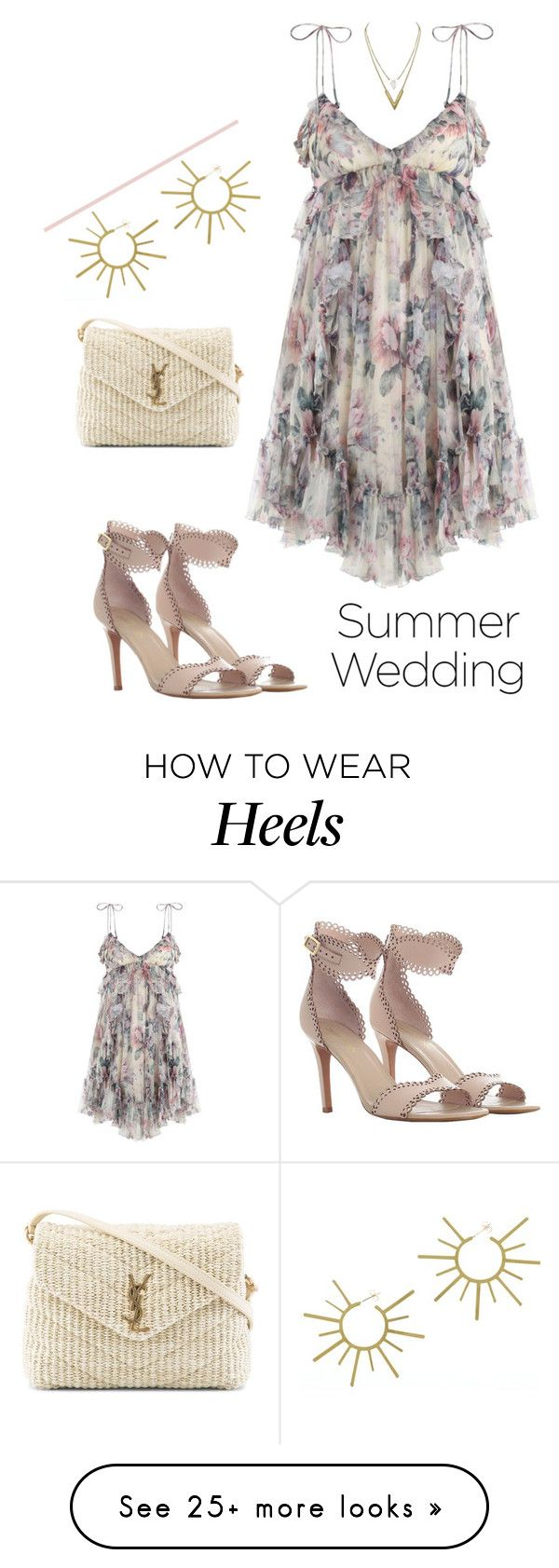 """""""Floral Dress"""" by sara12alexandra on Polyvore featuring Zimmermann, VANINA and Yves Saint Laurent"""