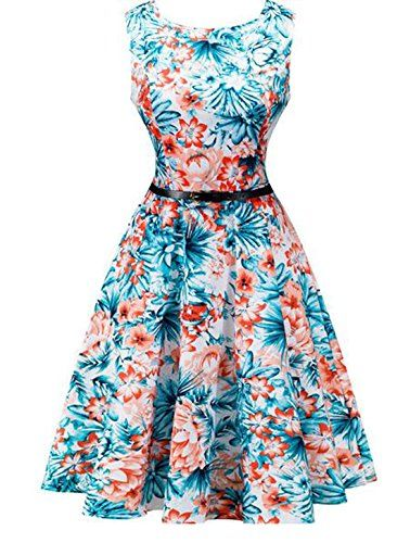 OULIU Womens Vintage 1950s Sleeveless Floral Swing Dress 9 XL >>> Check out  this