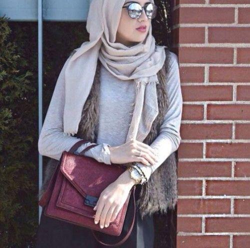 chic hijab outfit fur vest, Hijab trends 2016…