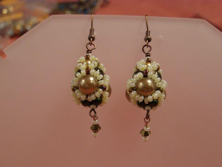 Glass Earrings – Olive tone beaded drop earrings – a unique product by DarkEyedJewels on DaWanda