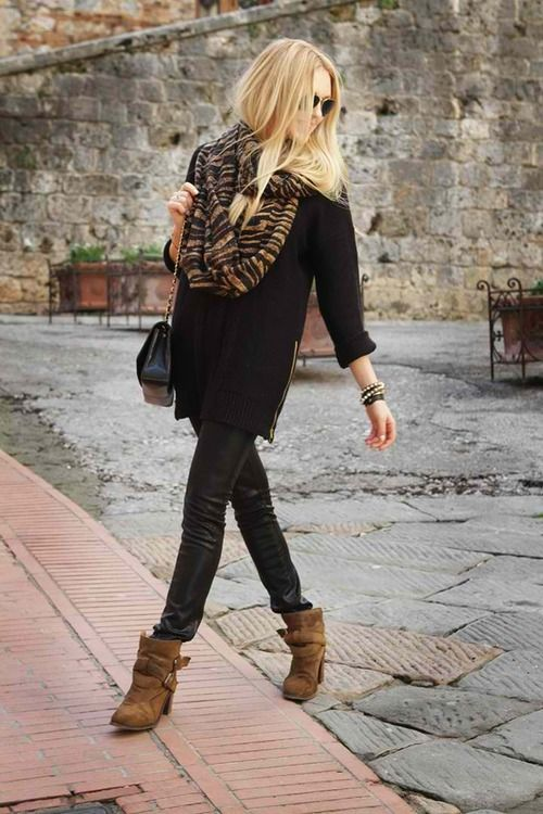 F/W Black leather pants, brown buckle booties and black/brown knit scarf