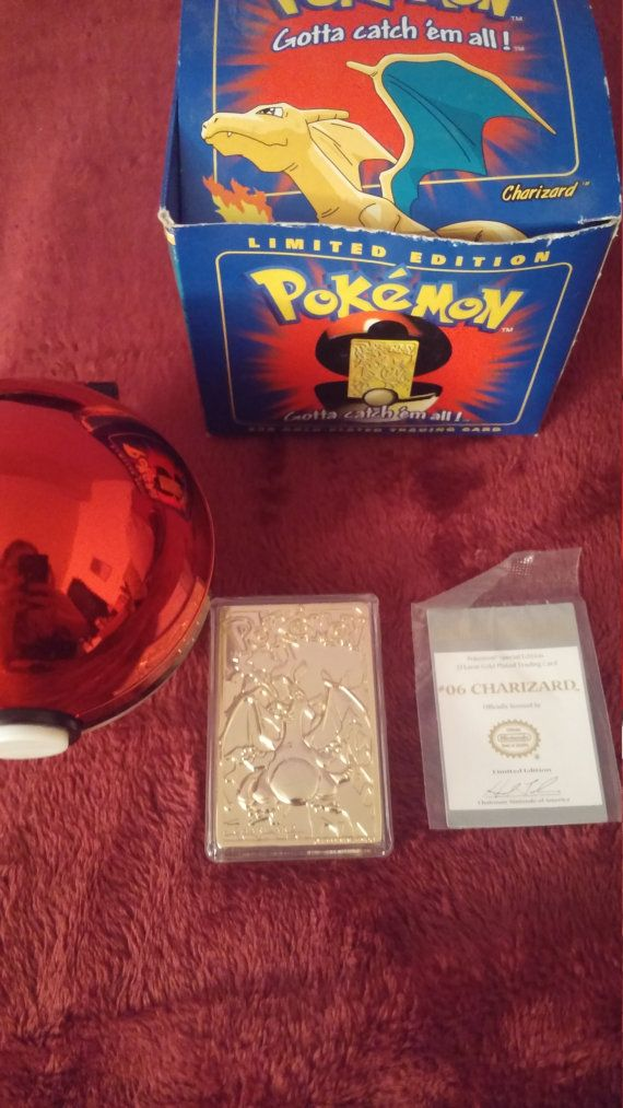 Charizard 06 23K Gold Plated Card and Pokeball by UniqueDarling