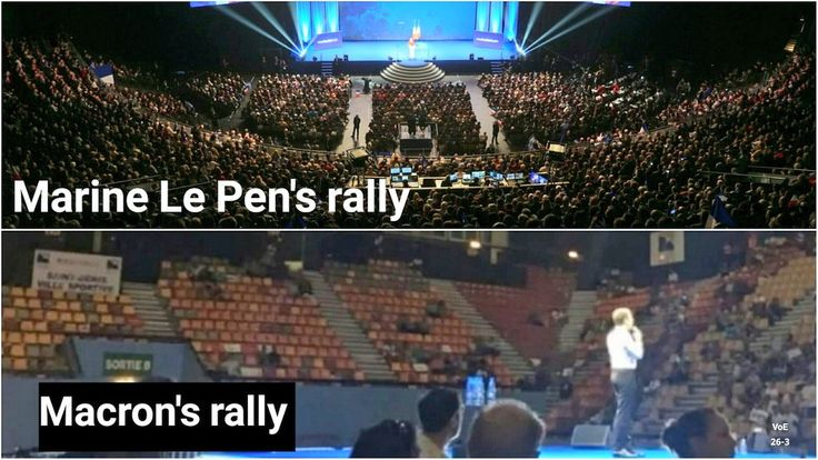 Marine Le Pen's rally vs Macron's rally - This is Trump vs Clinton all over again; get out and vote no matter what!