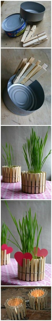 Clothespins & tuna can = potted plant container. I would paint the clothespins to match my decor. (or put glass votive candle in it) cute idea.