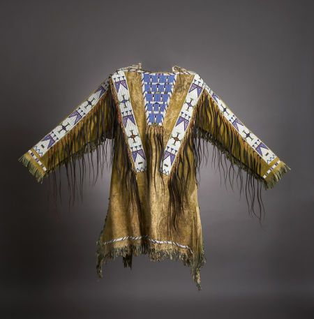 American Indian Art:Beadwork and Quillwork, A SIOUX BEADED HIDE WAR SHIRT. c. 1895... Image #1
