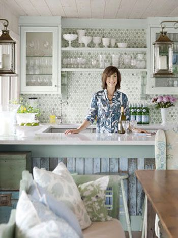 Planning a kitchen wall full of tile and open shelves for Sarah richardson kitchen ideas