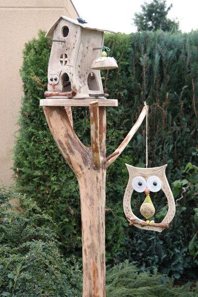 Nistkästen & Vogelhäuser - Maisknödel Futterstelle große Eule Wurm - ein Designerstück von ThoLiKo bei DaWanda