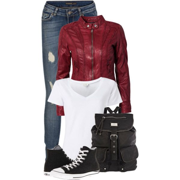 Red Leather Jacket, Ripped Jeans, and a White T-Shirt