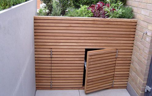 Garden storage with plants on top