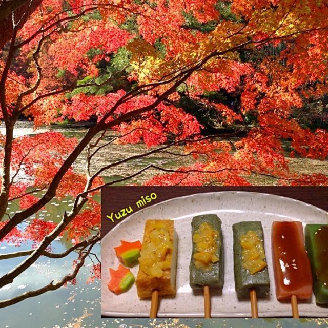 柚子味噌を作りました。 田楽で頂きます。 *生麩 *厚揚げ  赤味噌 *ウコン入り蒟蒻 *青さ入り蒟蒻  神戸市森林公園の紅葉 - 83件のもぐもぐ - 生麩 柚子味噌 by urasimataro16