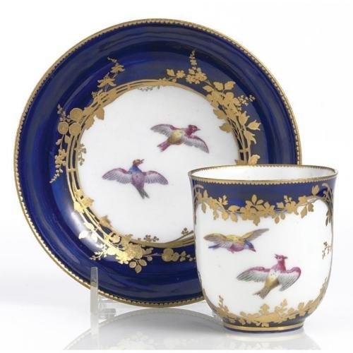 A VINCENNES BLEU LAPIS-GROUND CUP AND SAUCER  CIRCA 1753: