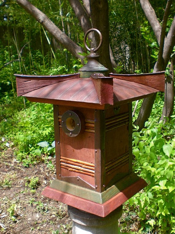 The Pagoda: Japanese Style Birdhouse From Reclaimed Barn Wood and Metal Roofing--MADE TO ORDER via Etsy