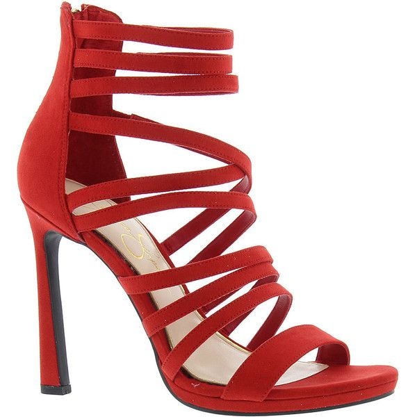Jessica Simpson Palkaya Women's Red Sandal (285 PEN) ❤ liked on Polyvore featuring shoes, sandals, red, strappy high heel sandals, high heels sandals, strap high heel sandals, monk-strap shoes and strappy shoes
