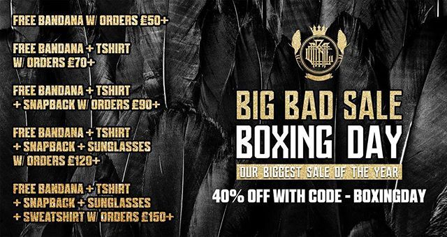 Feeling stuffed with Xmas dinner? Dying of a food coma on the sofa? No better time to check out our Boxing Day sale than now! ❤️ 40% OFF w/ code: BOXINGDAY  FREE Bandana w/ orders £50+  FREE Bandana + Tshirt w/ orders £70+  FREE Bandana + Tshirt + Snapback w/ orders £90+  FREE Bandana + Tshirt + Snapback + Sunglasses w/ orders £120+  FREE Bandana + Tshirt + Snapback + Sunglasses + Sweatshirt w/ orders £150+  www.crmcclothing.co  #boxingday #boxingdaysales #boxingdaydeals #style #dark