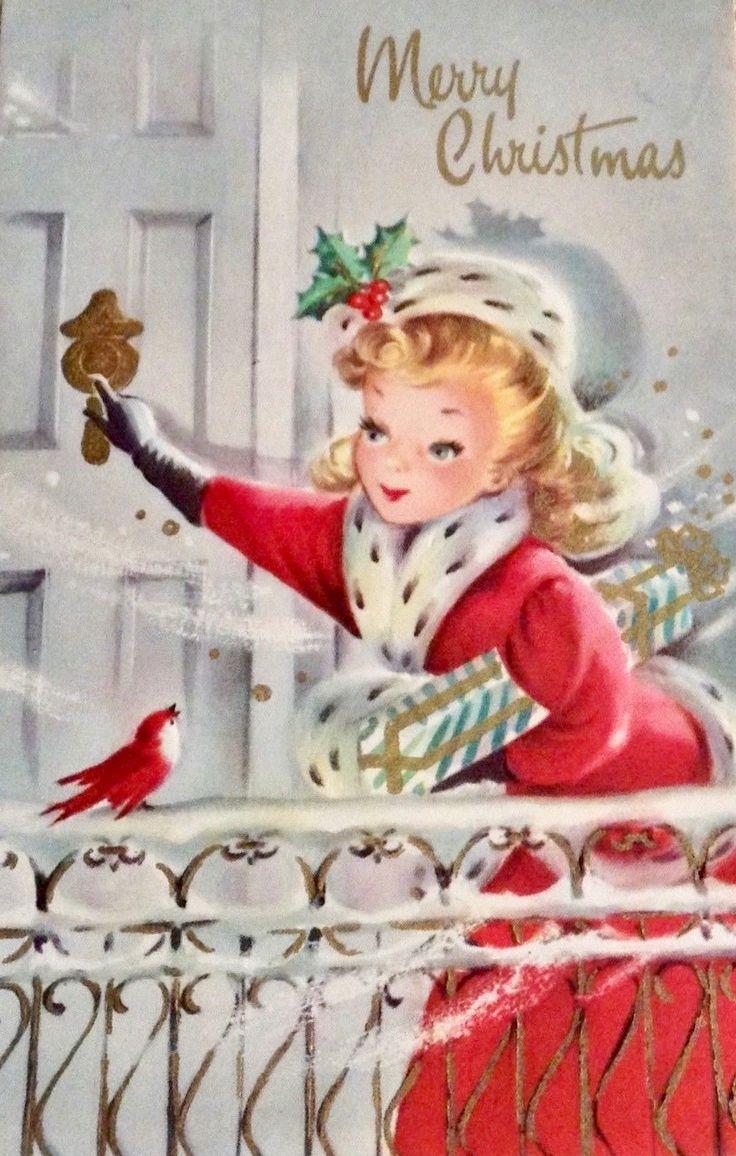 #retrochristmas #merrychristmas Vintage Christmas Card. Christmas Girl.
