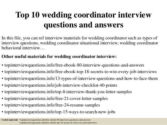 Top 10 Wedding Coordinator Interview Questions And Answers This