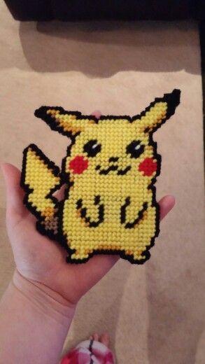 Plastic canvas pikachu!                                                                                                                                                      More