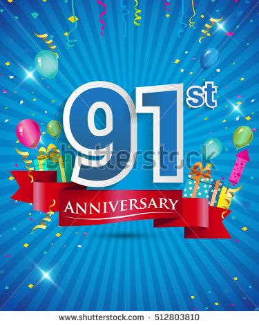 91 Years Anniversary celebration logo, with gift box and balloons, red and  blue ribbon, Colorful Vector design template elements for your birthday  party ...