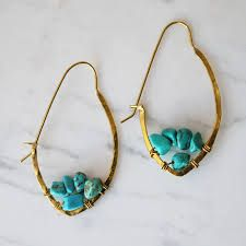 Image result for Turquoise hoop earrings
