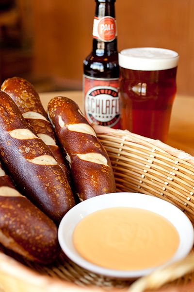 companion bavarian pretzels with schlafly pale ale cheese dip