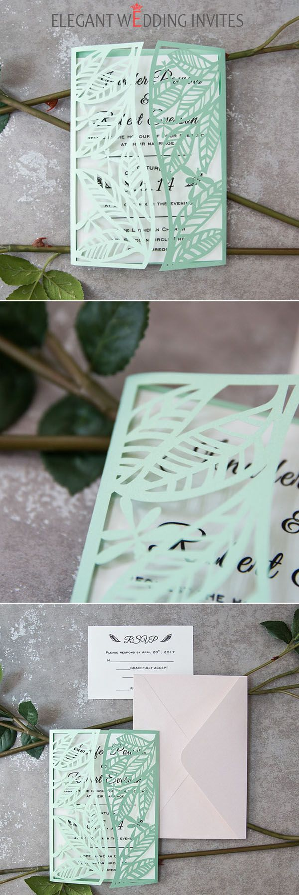 mint spring leaf inspired laser cut invitations