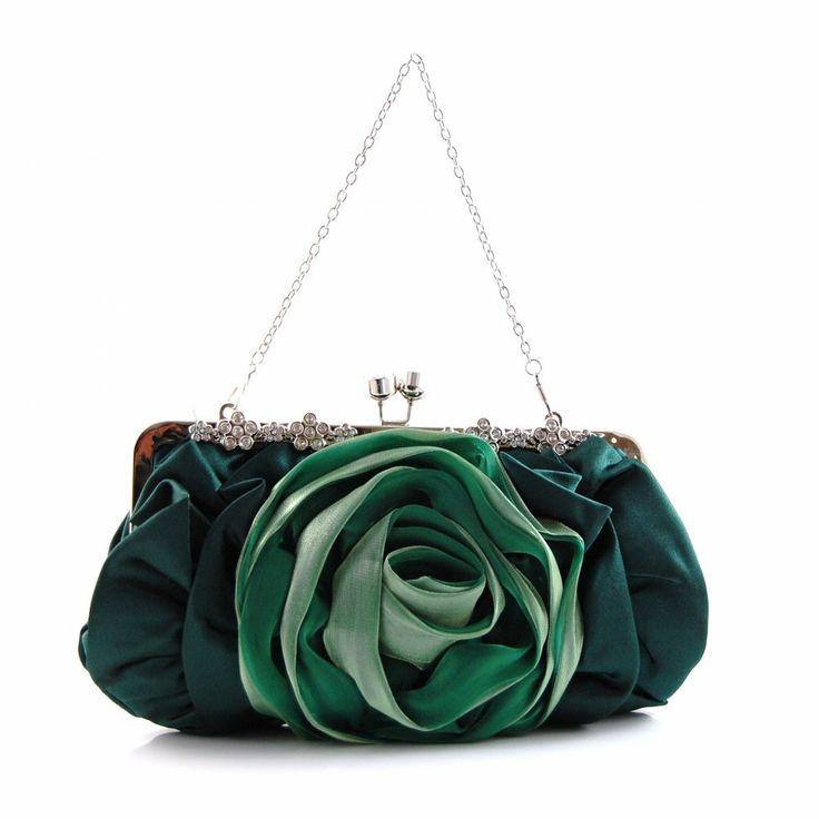Evening Handbags Product   Home › Evening Bag - Green Satin Flower Evening Bag