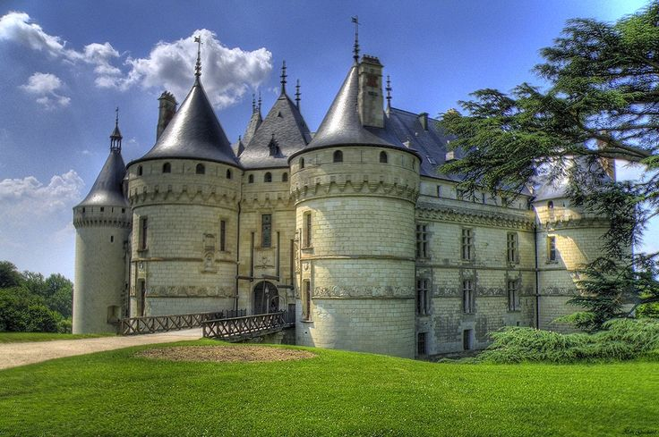 Chateau de Chaumont, France. Built on the 10th century remnants of a fortress built to protect Blois, the Chateau de Chaumont was built in the years between 1465 and 1510 by Charles I and Charles II d'Amboise. The Château de Chaumont was purchased by Catherine de Medici a year after Henry II's death. There she entertained numerous astrologers, among them Nostradamus. In 1559 she forced Diane de Poitiers to exchange the Château de Chenonceau for the Château de Chaumont.  X