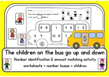 THE CHILDREN ON THE BUS number worksheets and hands on activity with little yellow buses. Practice 1-10 with amounts...