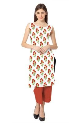 White Color Sleeveless And Boat Neck Faux Crepe Kurti