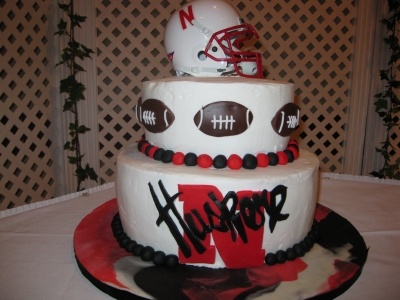 Nebraska Husker Theme grooms cake By Kellbella on CakeCentral.com