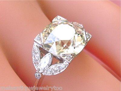 ESTATE 4.27ct EUROPEAN CUT CENTER DIAMOND PLATINUM ENGAGEMENT RING GIA CERT