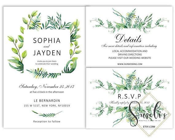 Printable Wedding Invitation Set Rsvp Thank you Green Wreath