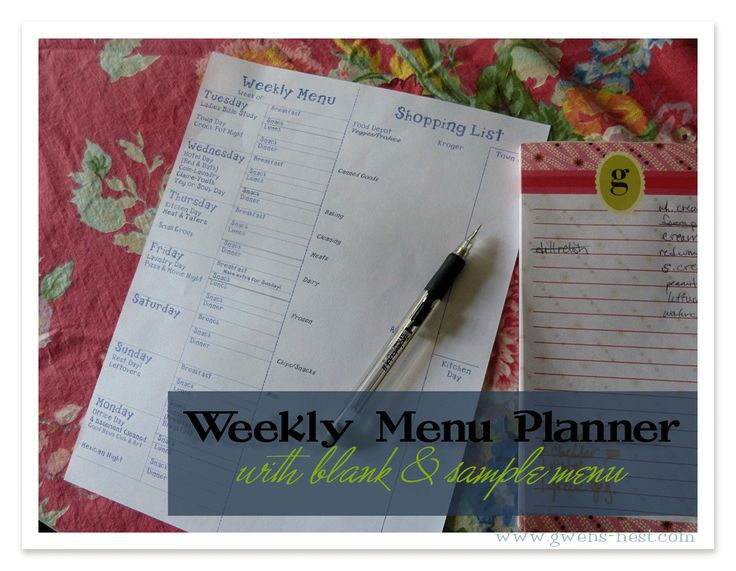 Download this free Menu Maker and Shopping List...create your own or get a week of Gwen's already planned THM week of meals!