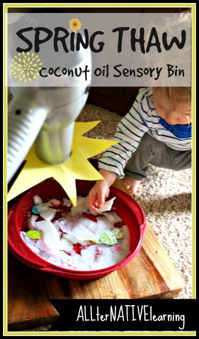 Spring Thaw Coconot Oil Sensory Bin fillers