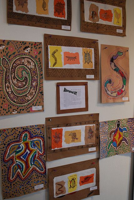 Aboriginal art by paintedpaper, via Flickr elementary art lesson Australia dot paintings animals multi-cultural