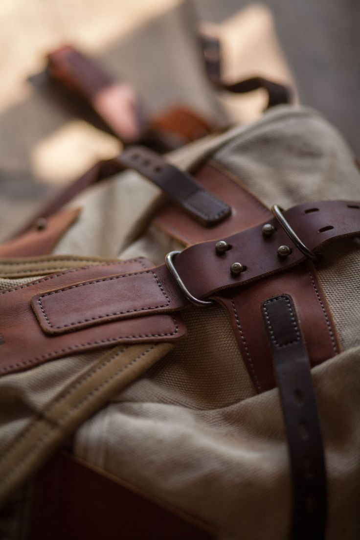 Leather and canvas backpack #071 on Behance