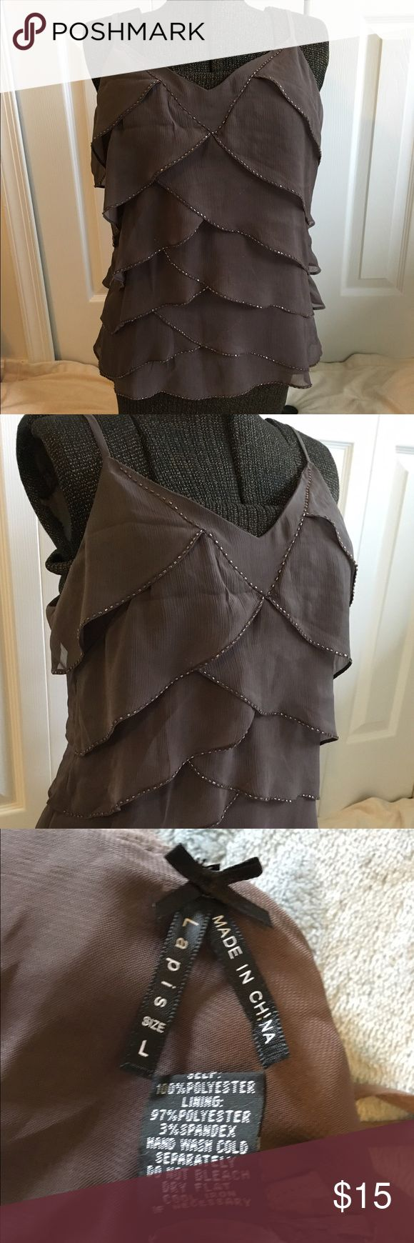 Dressy and elegant spaghetti top, brown Elegant ruffle spaghetti style dress top, brown, with brown beads on ruffles, never worn Lapis Tops