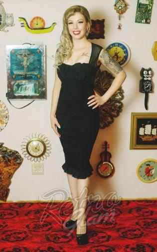 Retro Glam Pinup Couture Micheline Dress In Black With Chiffon Trim