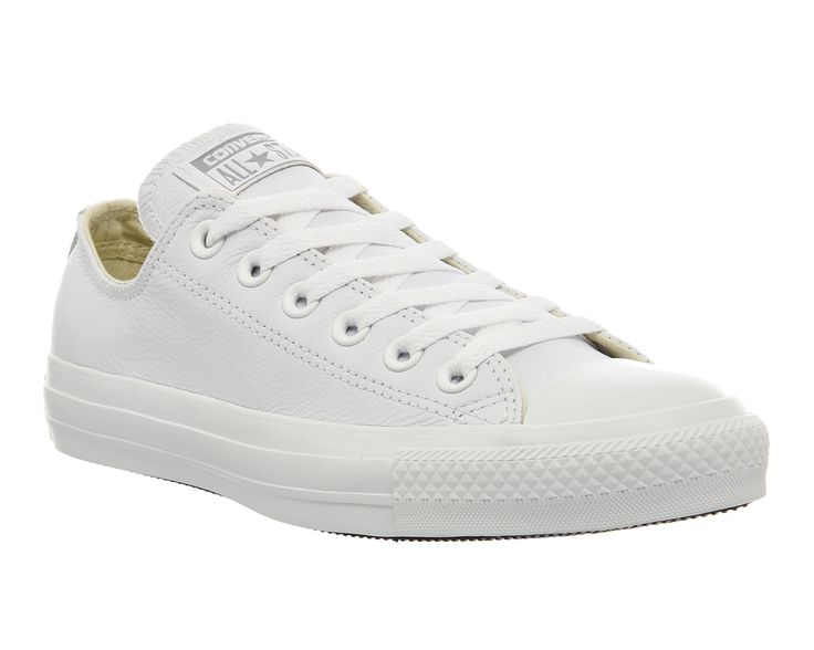 Buy White Mono Leather  Converse All Star Low Leather from OFFICE.co.uk.