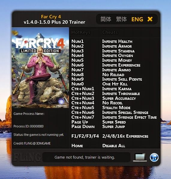 far cry 4 trainer cheats add exp  skill points  money