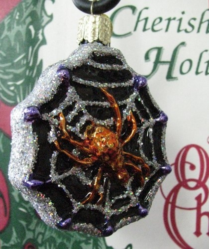 merck family old world christmas discontinued halloween ornament spider in her web - Halloween Christmas Ornaments